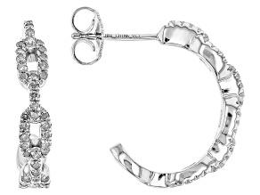 Pre-Owned Diamond Rhodium Over Sterling Silver Hoop Earrings .45ctw