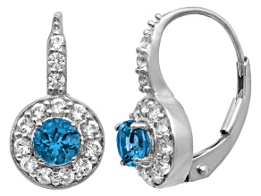 Pre-Owned London Blue Topaz And Lab Created White Sapphire Sterling Silver Earrings .92ctw