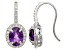 Pre-Owned Amethyst And Synthetic White Sapphire Sterling Silver Earrings 2.74ctw