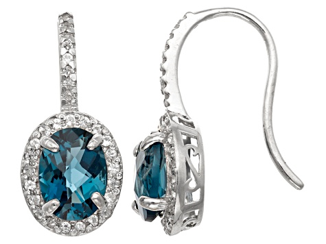 Pre-Owned London Blue Topaz And Synthetic White Sapphire Sterling Silver Earrings