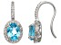 Pre-Owned Swiss Blue Topaz And Synthetic White Sapphire Sterling Silver Fish Hook Earrings