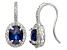 Pre-Owned Lab Created Blue And White Sapphire Sterling Silver Fish Hook Earrings 2.74ctw