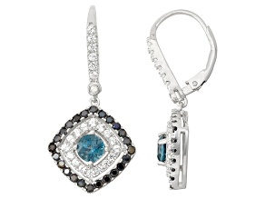 Pre-Owned Sterling Silver London Blue Topaz, Black Spinel And Synthetic Sapphire Earrings