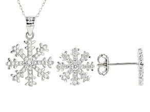 Pre-Owned White Cubic Zirconia Rhodium Over Sterling Silver Pendant With Chain & Earrings Set 1.00ct