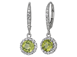Pre-Owned Green Peridot And Lab Created White Sapphire Sterling Silver Dangle Earrings
