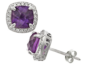 Pre-Owned Amethyst And Synthetic White Sapphire Sterling Silver Stud Earrings 2.80ctw
