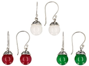 Pre-Owned Multi colored onyx set of 3 oxidized sterling silver dangle earrings