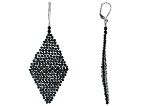 Pre-Owned Black Spinel Rhodium Over Silver Woven Kite Earrings