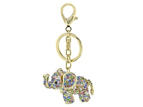 Pre-Owned Multicolor Crystal Gold Tone Elephant Keychain
