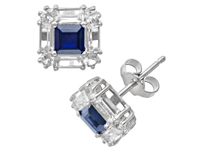 Pre-Owned Lab Created Sapphire Sterling Silver Stud Earrings