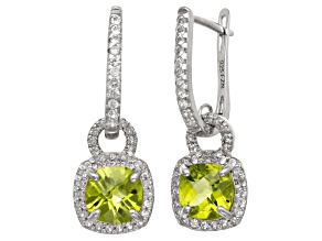 Pre-Owned Peridot And Synthetic White Sapphire Sterling Silver Leverback Earrings 3.13ctw