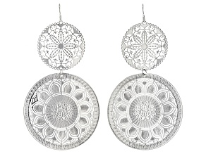 Pre-Owned Silver Tone Floral Lace Design Dangle Earrings