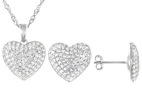Pre-Owned White Cubic Zirconia Rhodium Over Sterling Silver Heart Pendant With Chain And Earrings 2.
