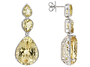 Pre-Owned Citrine Rhodium Over Sterling Silver Dangle Earrings 36.24ctw