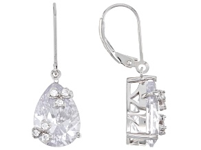 Pre-Owned White Cubic Zirconia Rhodium Over Silver Dangle Earrings 16.90ctw