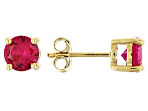 Pre-Owned Red lab created ruby 18k yellow gold over sterling silver earrings 2.36ctw