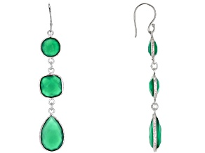 Pre-Owned Green Onyx Rhodium Over Sterling Silver Dangle Earrings 16.50ctw