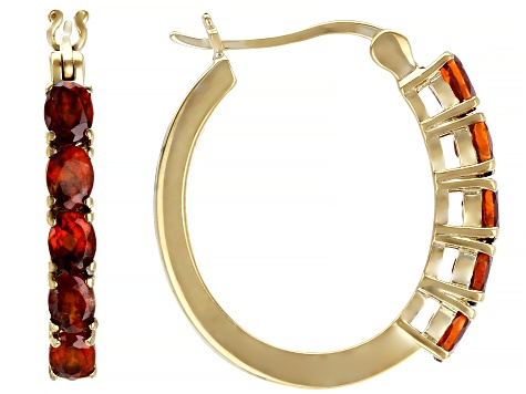 Pre-Owned Red garnet 18k yellow gold over silver hoop earrings 1.96ctw