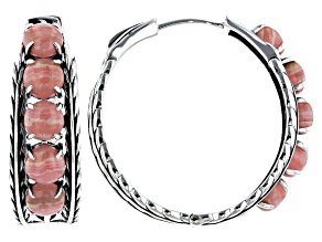 Pre-Owned Rhodochrosite Cabochon Rhodium Over Silver Feather Hoop Earrings