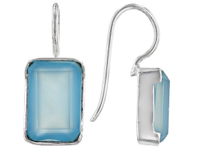 Pre-Owned Aqua Chalcedony Rhodium Over Sterling Silver Dangle Earrings 12x8mm