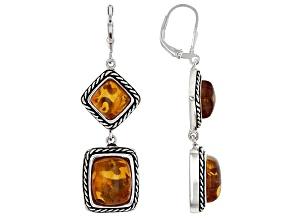 Pre-Owned Orange Polish amber sterling silver 2-stone earrings