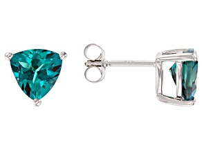 Pre-Owned Teal Lab Created Alexandrite Rhodium Over Silver Earrings 3.58ctw