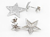 Pre-Owned White Cubic Zirconia Rhodium Over Sterling Silver Star Earrings 1.93ctw
