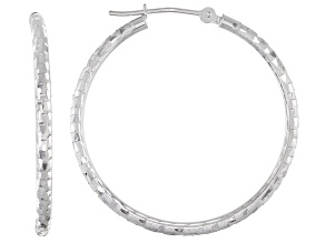 Pre-Owned 10k White Gold Hoop Earrings