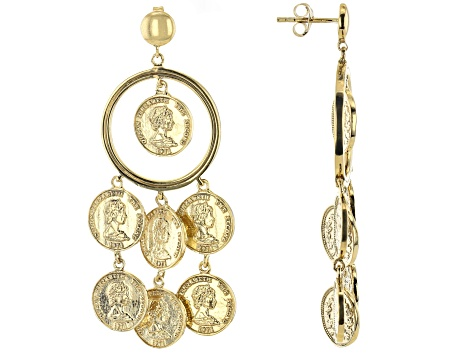 Pre-Owned 18k Gold Over Silver Coin Replica Earrings