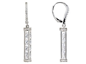 Pre-Owned White Cubic Zirconia Rhodium Over Sterling Silver Earrings 6.67cw