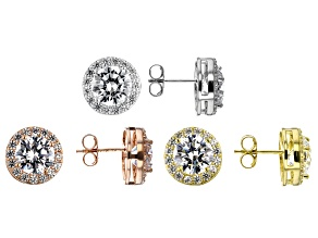 Pre-Owned White Cubic Zirconia 18K Yellow, 18K Rose Gold, And Rhodium Over Sterling Silver Earrings