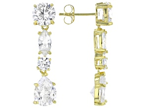 Pre-Owned White Cubic Zirconia 18K Yellow Gold Over Sterling Silver Earrings 9.69ctw
