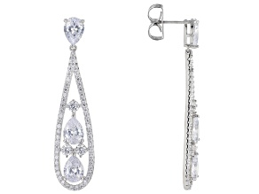 Pre-Owned White Cubic Zirconia Rhodium Over Sterling Silver Earrings 15.26tw