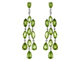 Pre-Owned Green Peridot Rhodium Over Sterling Silver Chandelier Earrings 12.27ctw