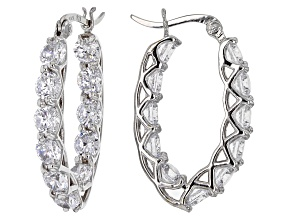 Pre-Owned White Cubic Zirconia Rhodium Over Sterling Silver Earrings 8.80ctw