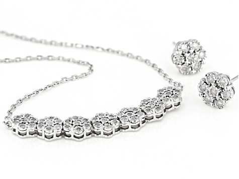 Pre-Owned White Diamond Rhodium Over Sterling Silver Cluster Earring & Bar Necklace Jewelry Set 0.50