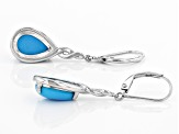 Pre-Owned Sleeping Beauty Turquoise Rhodium Over Sterling Silver Earrings