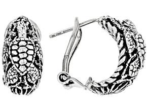"""Pre-Owned Sterling Silver """"Sun- Kissed Turtle"""" Huggie Earrings"""