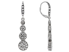 """Pre-Owned Sterling Silver """"He Sustains Us"""" Graduated Dangle Earrings"""