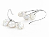 Pre-Owned White Cultured Keshi Freshwater Pearl 7mm Rhodium Over Sterling Silver Earrings
