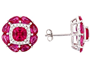 Pre-Owned Lab Created Ruby And White Cubic Zirconia Rhodium Over Sterling Silver Earrings 7.62ctw