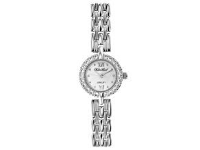 Pre-Owned White Cubic Zirconia Rhodium Over Brass Ladies Wrist Watch 1.45ctw