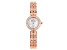 Pre-Owned White Cubic Zirconia 18K Rose Gold Over Brass Ladies Wrist Watch 1.45ctw