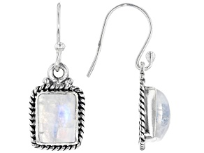 Pre-Owned Rainbow Moonstone Rhodium Over Silver Earrings