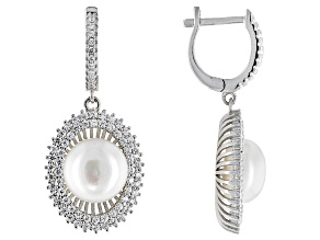 Pre-Owned Cultured Freshwater Pearl With Bella Luce® Rhodium Over Sterling Silver Earrings