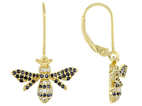 Pre-Owned Black And White Cubic Zirconia 18K Yellow Gold Over Sterling Silver Bee Earrings 0.99ctw