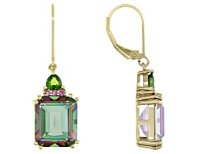 Pre-Owned Multi Color Quartz 18k Yellow Gold Over Silver Earrings 9.92ctw