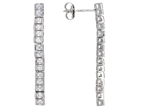 Pre-Owned White Cubic Zirconia Rhodium Over Sterling Silver Earrings 2.16ctw