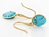 Pre-Owned Turquoise Sleeping Beauty 18k Gold Over Silver Earrings