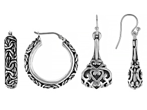 Pre-Owned Sterling Silver Set of Two Oxidized Hoop And Drop Earrings